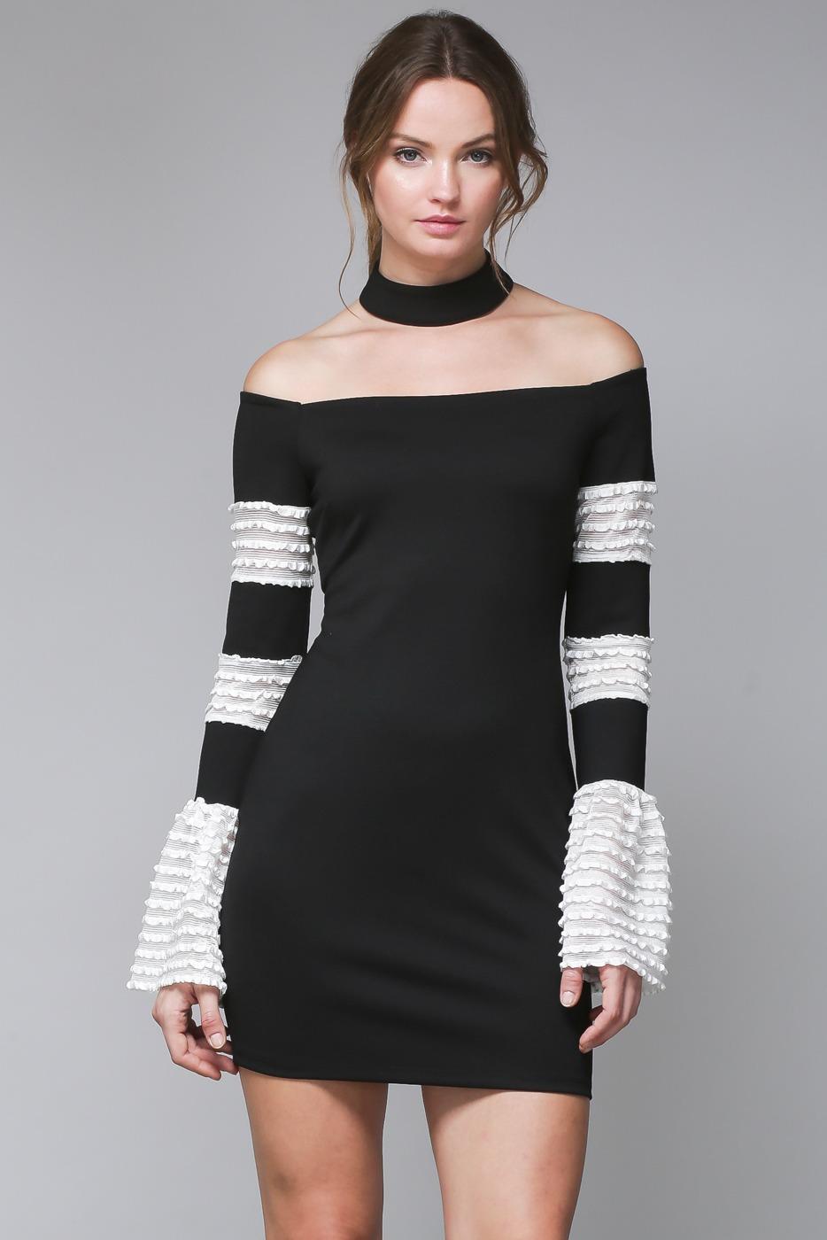 Vestido Negro Corto En Blanco Y Negro