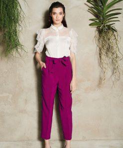 Pantalon capri fucsia de cintura alta para mujer