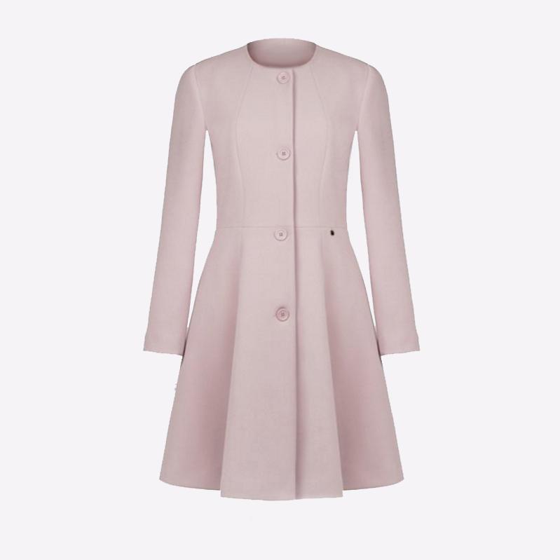 imágenes detalladas atractivo y duradero recogido Abrigo Largo Color Rosa