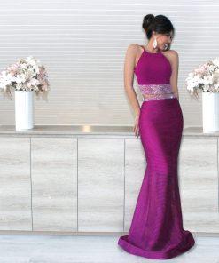 vestido de fiesta fucsia de dos piezas