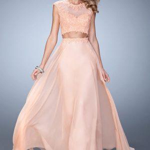 vestido de fiesta ligero color salmon