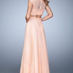 vestido de fiesta ligero color salmon espalda