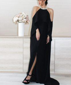 vestido de fiesta negro con hombros descubiertos