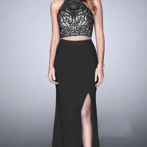 vestido de fiesta negro largo de dos piezas con top de encaje
