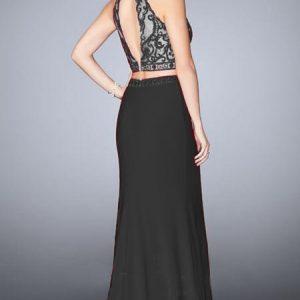 vestido de fiesta negro largo de dos piezas con top en encaje espalda
