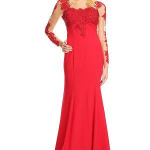 vestido de fiesta rojo largo manga larga