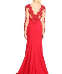 Vestido de fiesta rojo largo y manga larga espalda