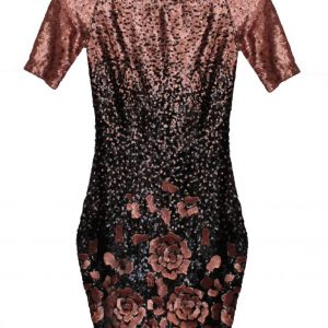 vestido de fiesta corto de lentejuelas negras y rosa