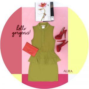 vestido corto verde con cuello y botones