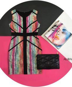 vestido de fiesta corto multicolor