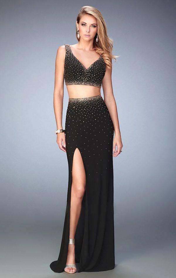 vestido de fiesta negro con brillantes