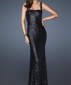 vestido de fiesta negro largo de lentejuelas