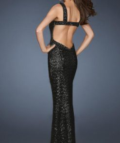 vestido de fiesta negro largo de lentejuelas espalda