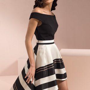 Vestido de fiesta corto blanco y negro