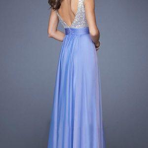 vestido de fiesta morado espalda