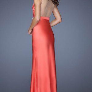vestido de fiesta naranja largo
