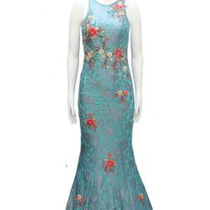 vestido de fiesta azul agua marina con flores