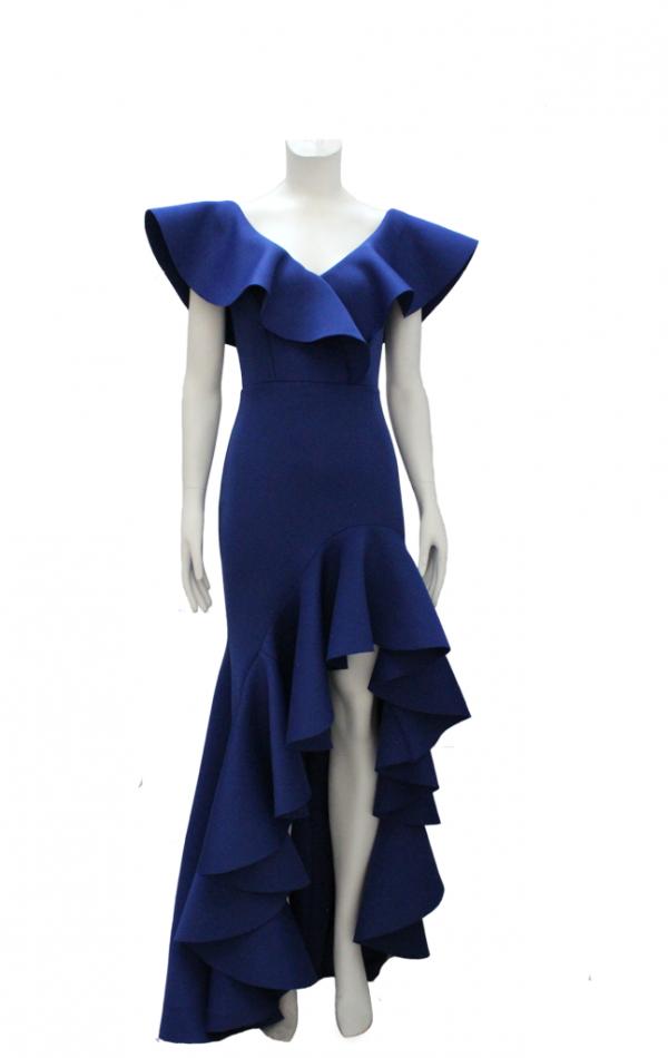 vestido de fiesta azul con boleros y abertura