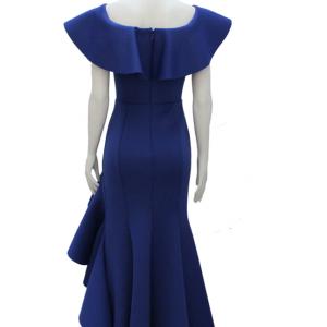 vestido de fiesta azul largo de boleros