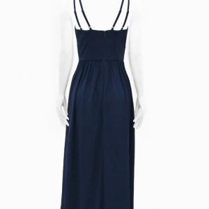 vestido de fiesta azul oscuro largo de tiritas