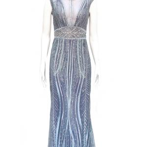 vestido de fiesta azul y morado con brillantes