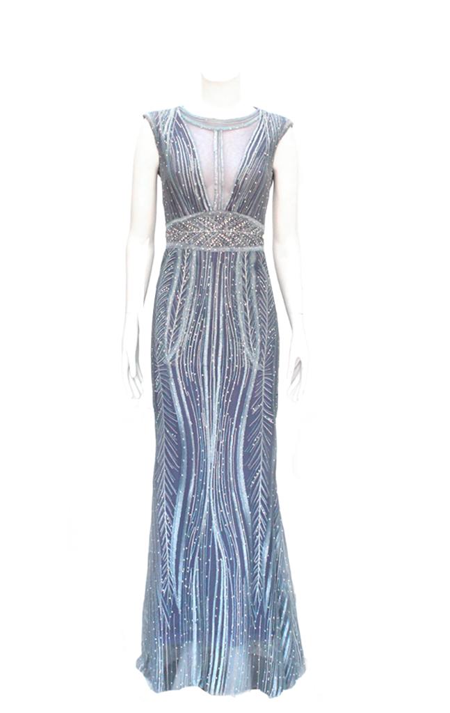 57de967f5 Vestido de Fiesta Azul con Brillantes - Aura Novias