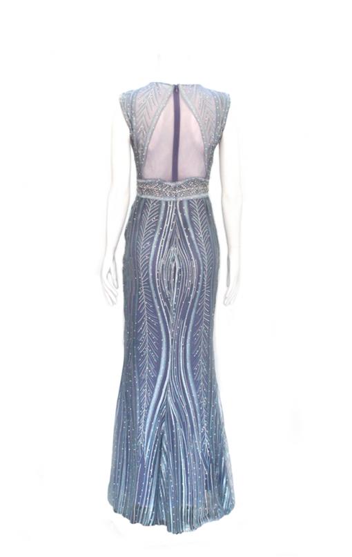 vestido de fiesta azul y morado largo