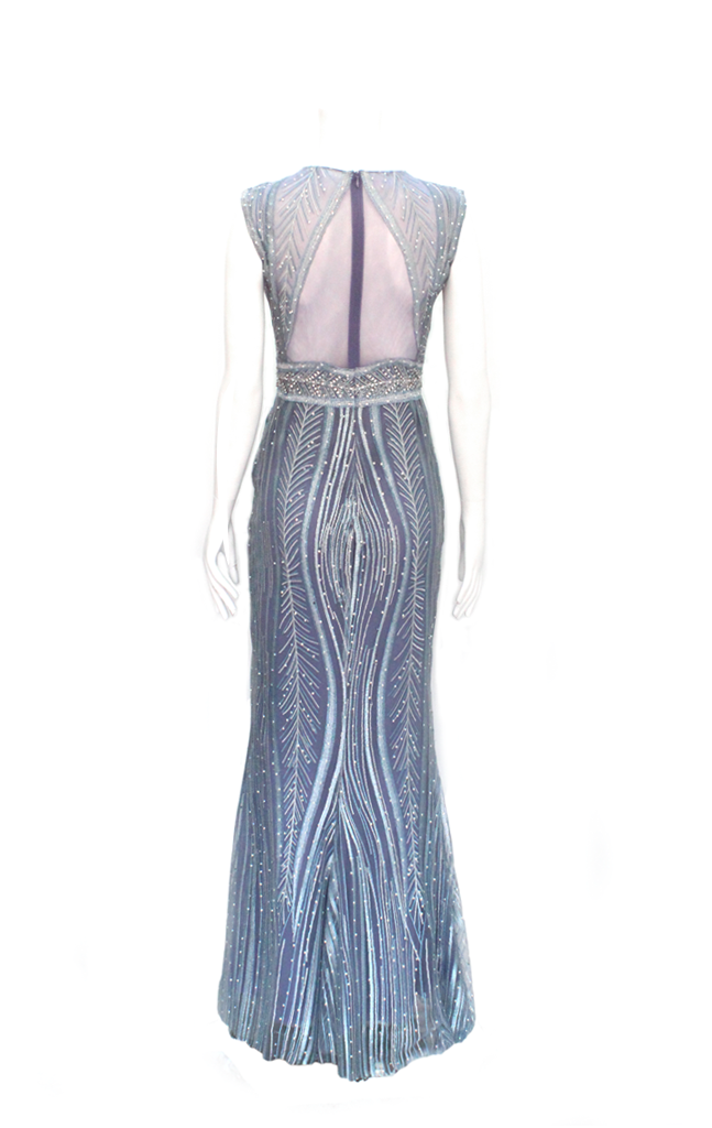 zapatos casuales imágenes detalladas nueva apariencia Vestido de Fiesta Azul con Brillantes