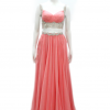 vestido de fiesta de dos piezas salmon copia