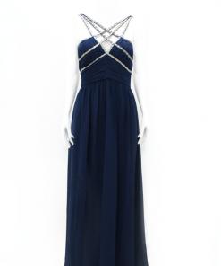 vestido de fiesta largo azul oscuro