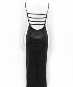 vestido de fiesta negro con espirales estampados espalda