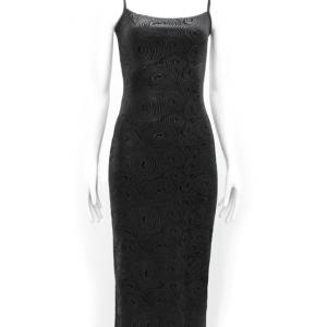vestido de fiesta negro con estampado de espirales