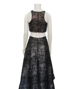 vestido de fiesta negro crop top y falda