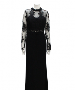 vestido de fiesta negro manga larga