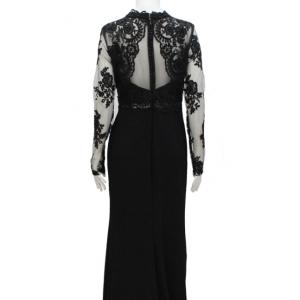 vestido de fiesta negro manga larga con encaje