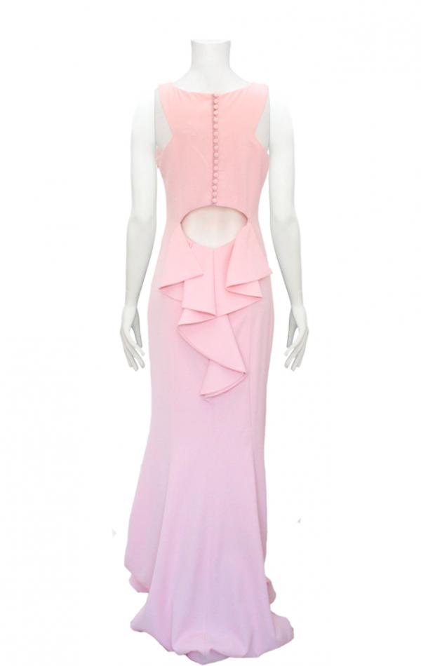 vestido de fiesta rosado largo de botones en espalda