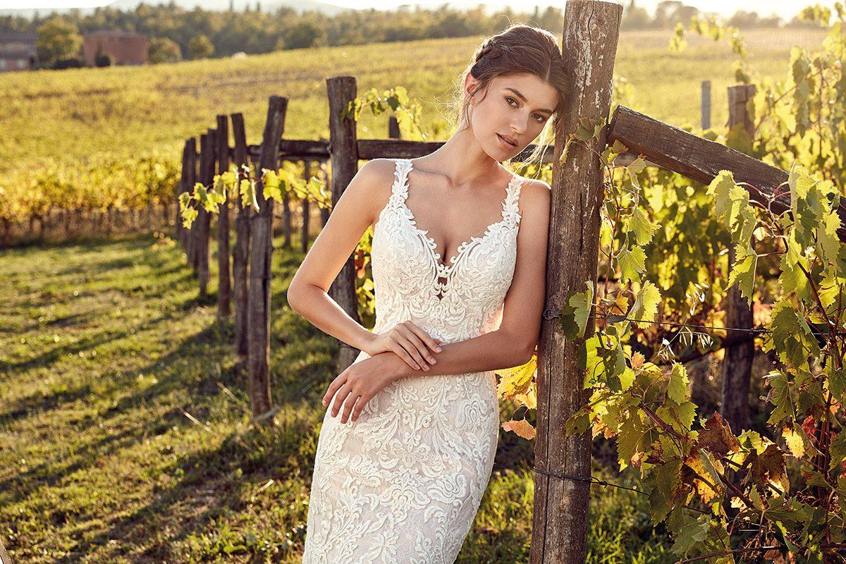 vestido de novia sirena con encaje marca eddyk