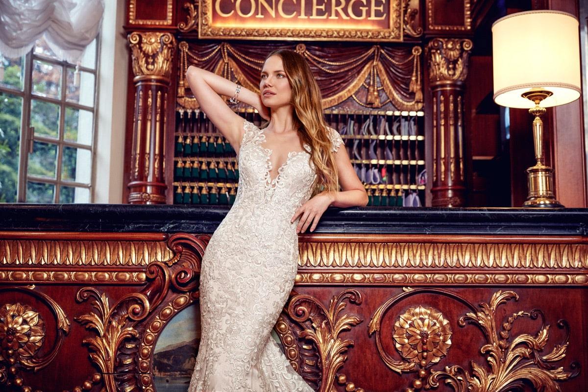 Vestido de novia sirena eddyk champaña