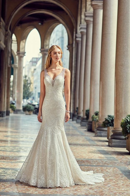 Vestido de novia sirena con brillantes