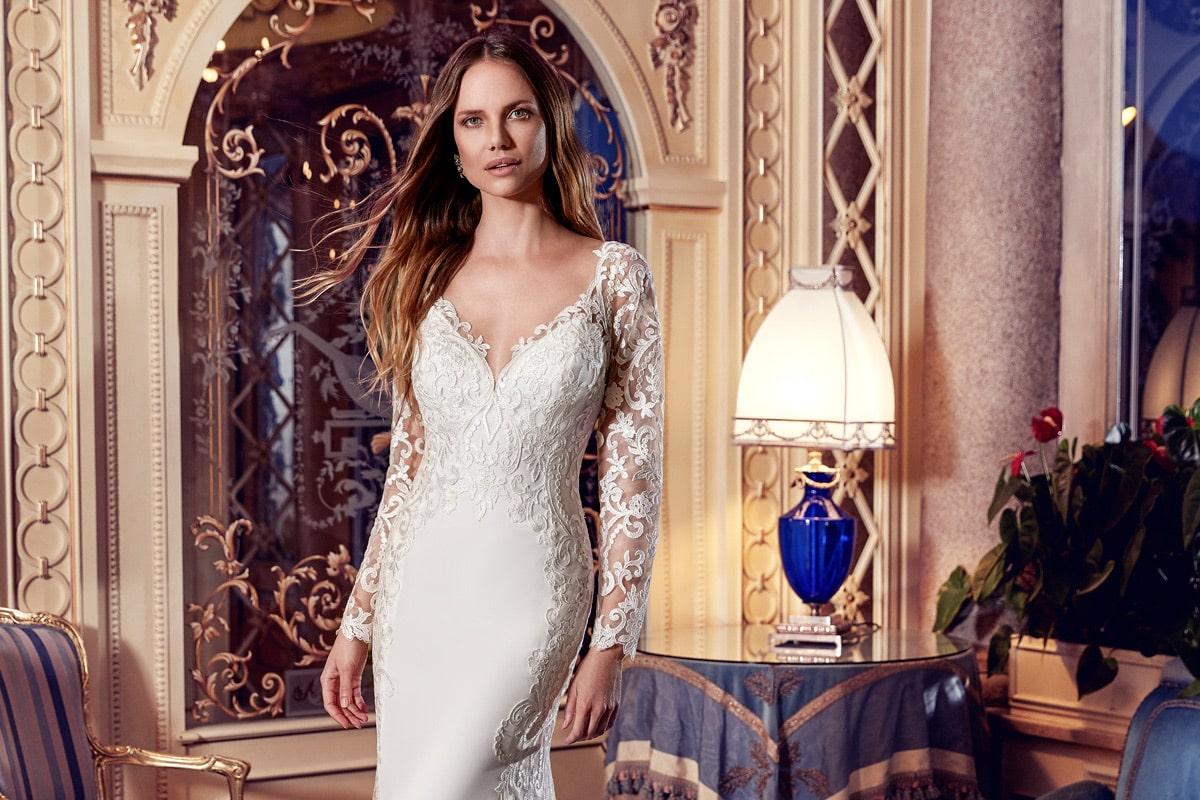 Vestido de novia sirena con mangas marca eddyk
