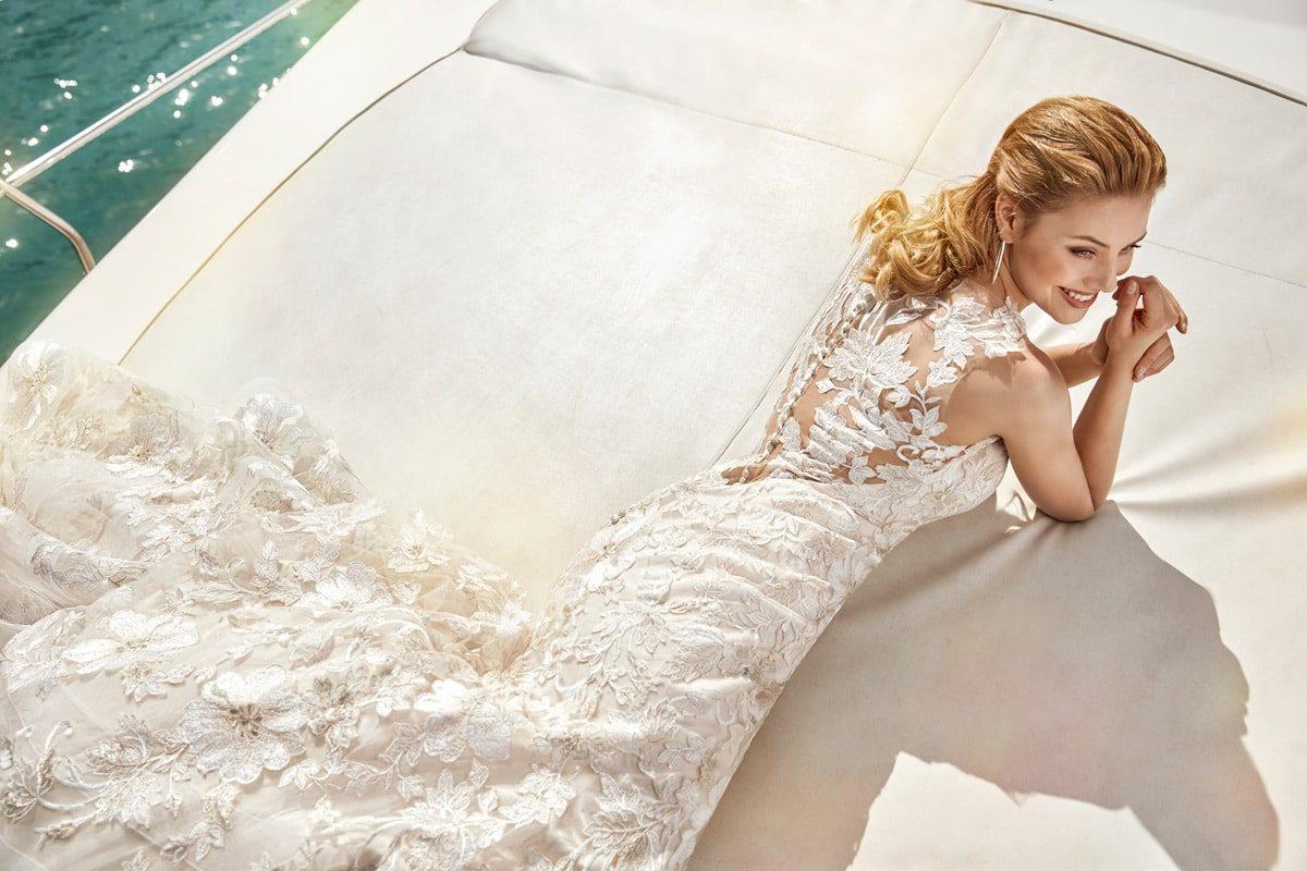 vestido Novia Sirena color champaña