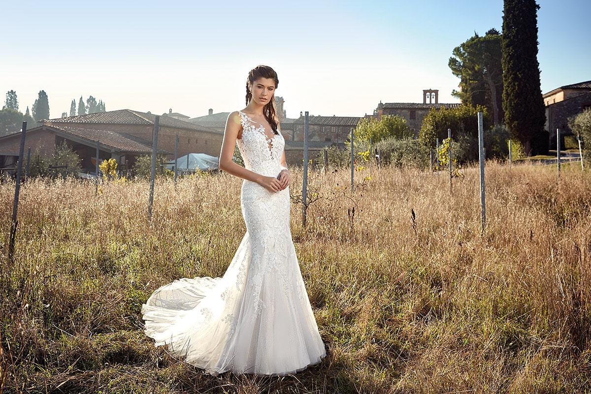 vestido de novia estilo sirena Eddyk con encaje