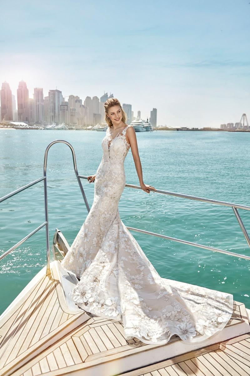 vestido de novia sirena SKY115 marca eddyk champaña