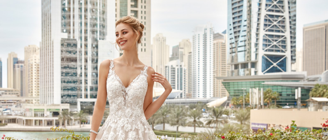 Vestido de novia con escote en V