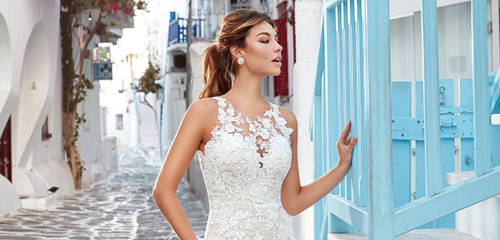 vestido de novia con escote ilusion