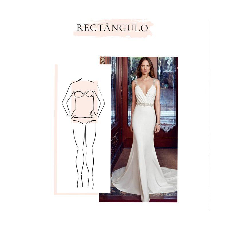 Vestido de novia para cuerpo en forma de rectángulo