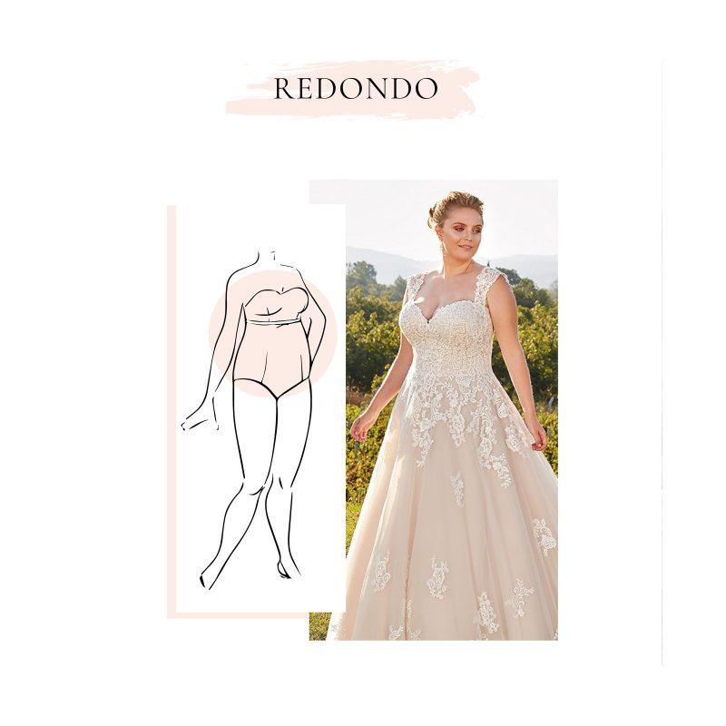 vestido de novia para cuerpo en forma redonda o manzana