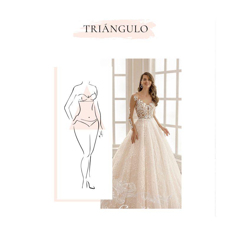 vestido de novia para cuerpo en forma tipo triángulo
