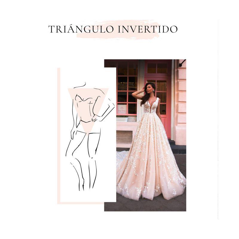 vestido de novia para cuerpo en forma tipo triángulo invertido
