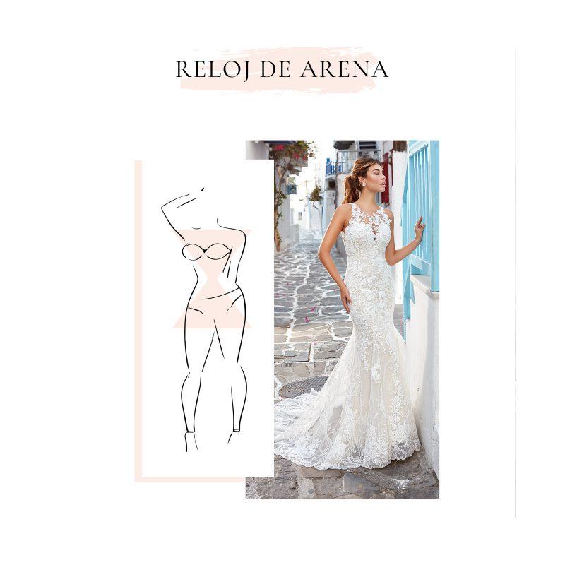 vestido de novia para cuerpo en forma tipo reloj de arena